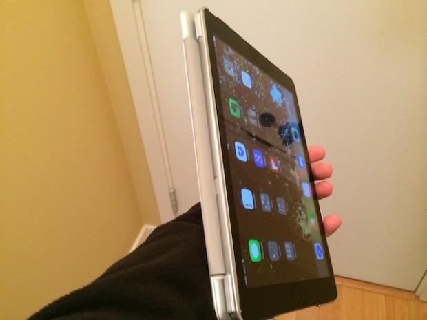 Keyboard folded behind iPad Air