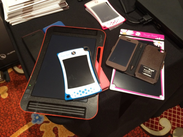 Various Boogie Board accessories. The Boogie Board Sync is the largest one with a 9.7-inch screen.