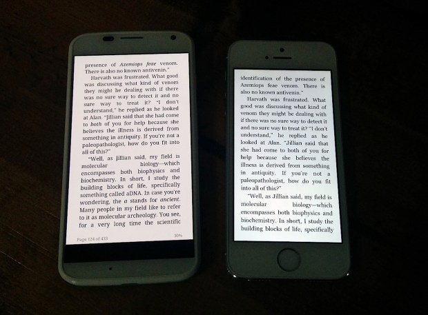 The larger Moto X display matches the iPhone in quality and shows more on screen at one time.
