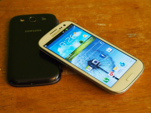 The Galaxy S3 sports a plastic design.
