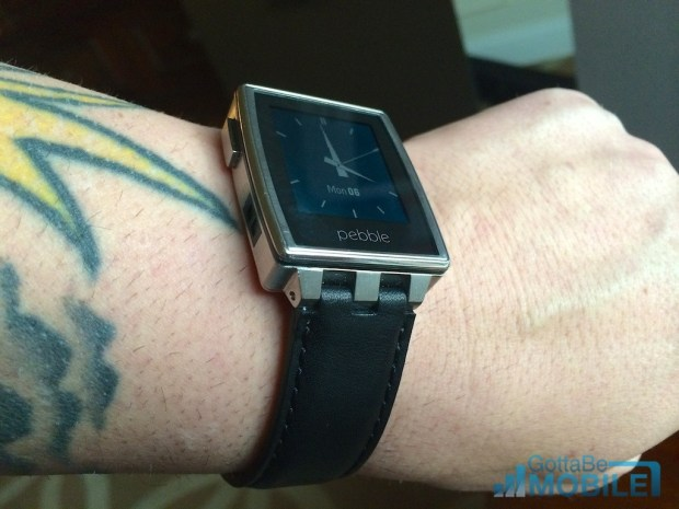 A leather band is included in the box with the Pebble Steel.