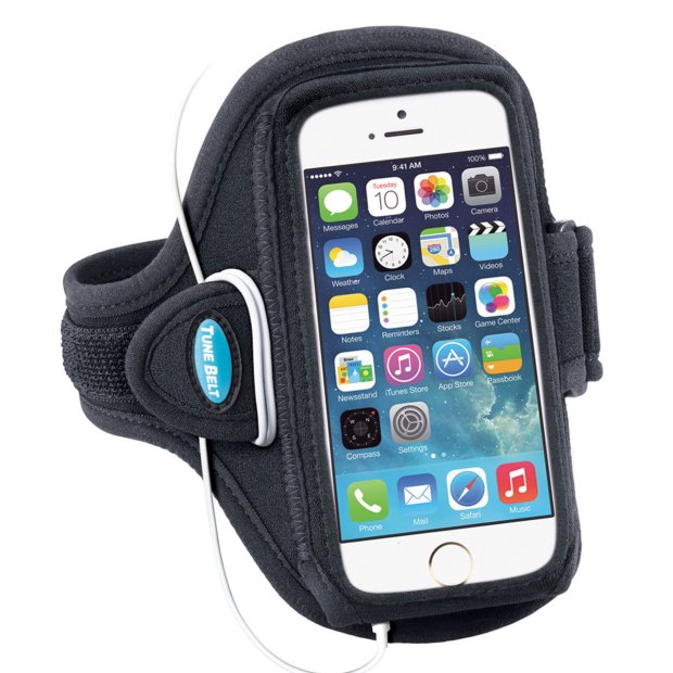 This iPhone 5 armband includes a spot to wrap headphone cords, a reflective stripe and extension for big arms.