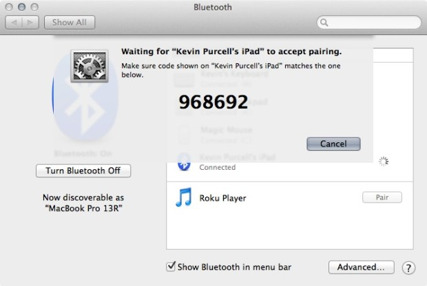 pairing mac to ipad via bluetooth