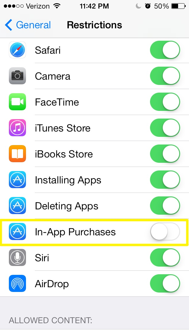 How to Turn off In-App purchases in iOS 7