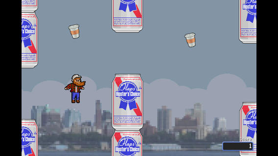 Beards, a hipster and PBR make up this Flappy Bird clone.