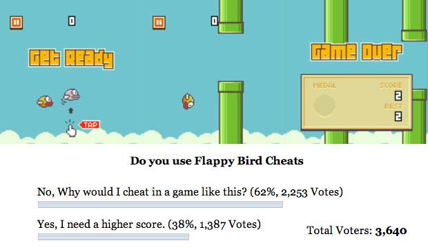 Flappy Bird cheats allow gamers to get a higher score, which many admit to doing.