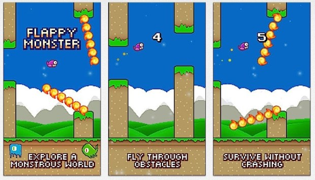 Flappy Monster Free adds more challenges to a Flappy Bird style game.