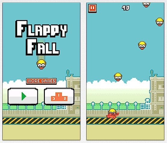 Catch all the failed Flappy Birds that are falling.