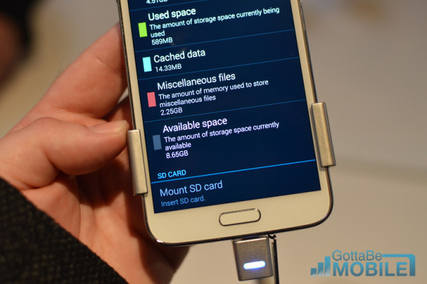 The Galaxy S5 available storage is just a little over half of the 16GB model.