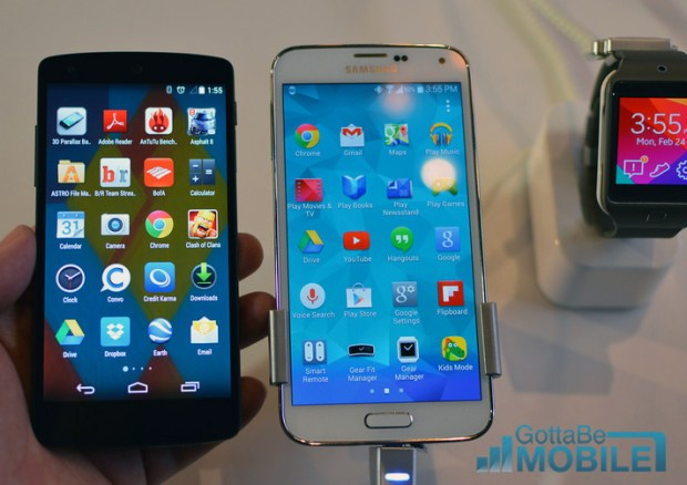 The Samsung Galaxy S5 and Nexus 5 displays are similar, but Samsung packs in extra features.