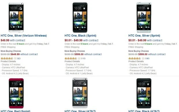 HTC One prices at Amazon