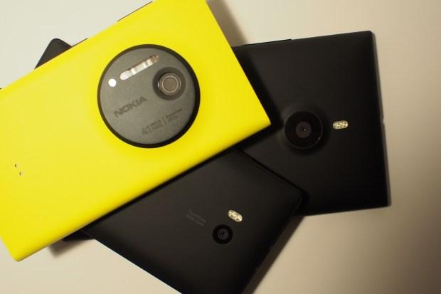 Nokia's PureView camera stacked: Nokia Lumia 1020 (AT&T), Nokia Icon (Verizon), Nokia Lumia 1520 (AT&T)