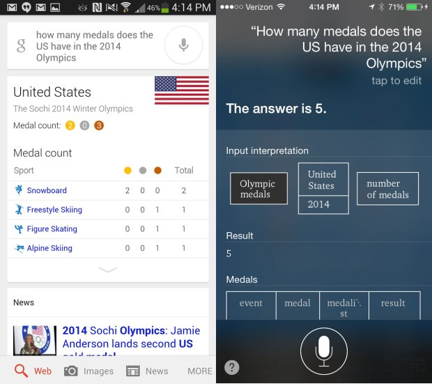 Siri and Google Now can answer questions about the 2014 Olympics.