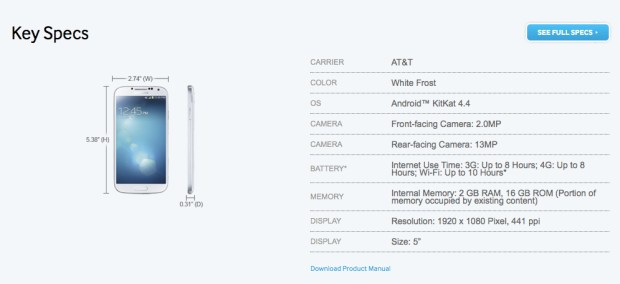 The AT&T Galaxy S4 Android 4.4 KitKat update has been spotted again on Samsung's website.