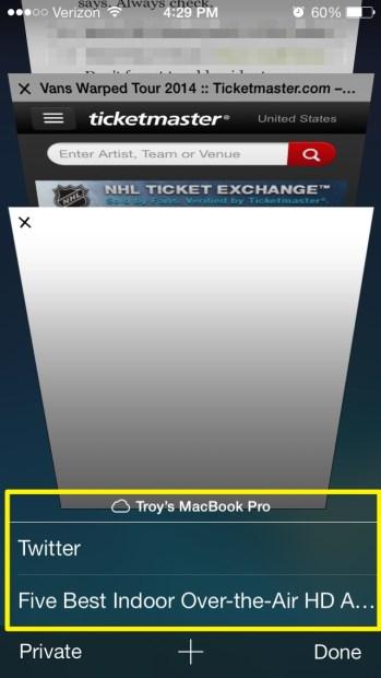 iCloud Tabs (iPhone)