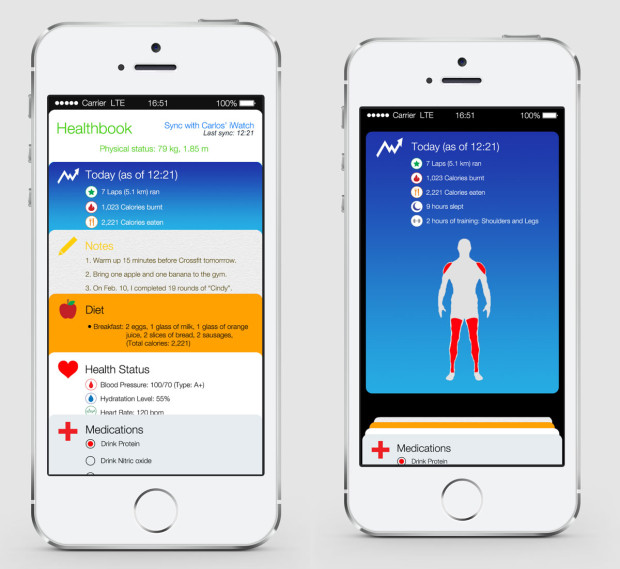 This iOS 8 concept shows what Healthbook might look like.