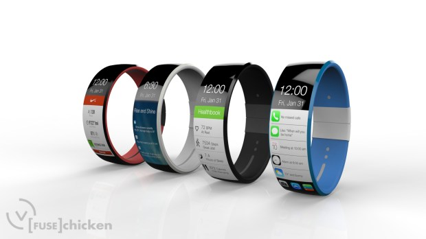 The iWatch concept uses a strong, flexible glass, but a real iWatch may use Sapphire.