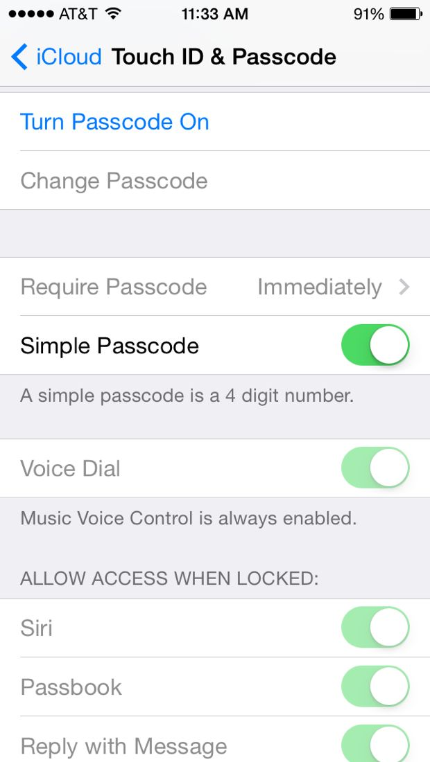 turn on passcode lock in ios 7.1