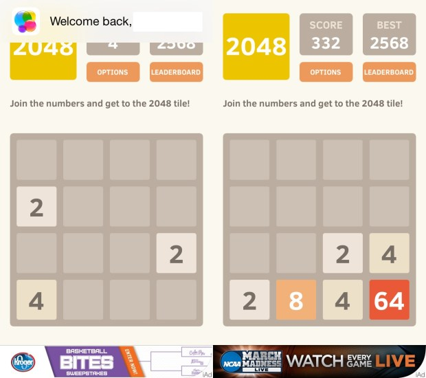 Push all tiles to the corner to get a big score off the start.