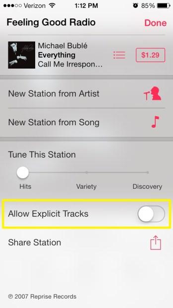 Allow Explicit Music
