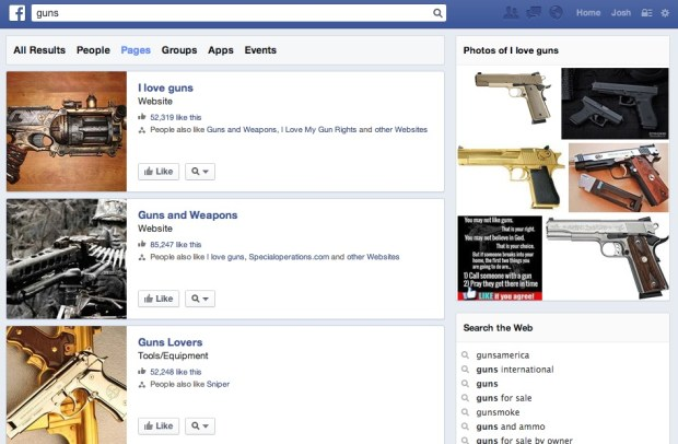 Users can  still see and like Facebook pages about guns.