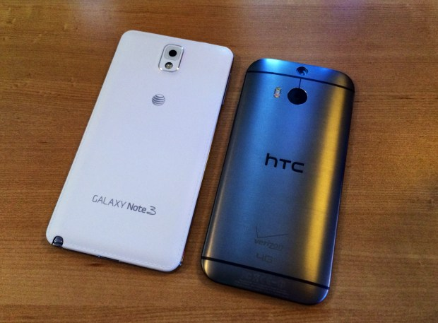 The new HTC One is larger than last year's model, but still smaller than the Galaxy Note 3.