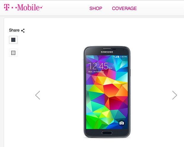 T-Mobile shows a black and a white Galaxy S5.