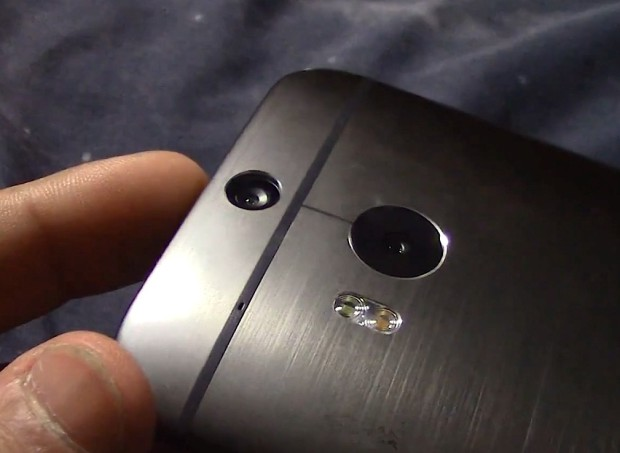 The New HTC One features two cameras on the back and what appears to be a dual-LED flash.