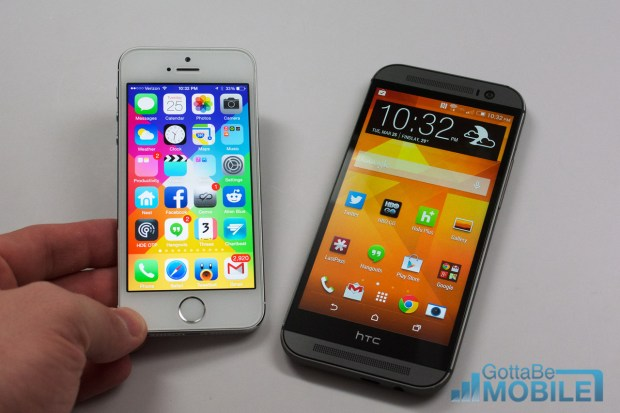 The new HTC One features a larger higher resolution display, but the iPhone 5s is not a slouch.