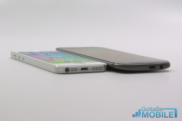 The new HTC One is slightly thicker than the iPhone 5s, but a curved back helps negate the thickness.