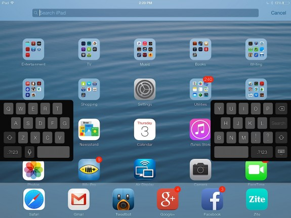 The iPad's split keyboard could look nice on a 5.5-inch iPhone 6.