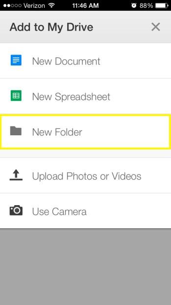Tap New Folder