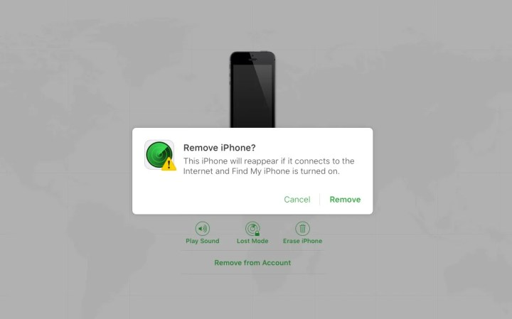 Confirm you want to remove Find My iPhone from your computer.