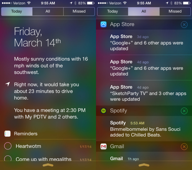 The iOS 8 Notification Center may clear out the Missed Tab.