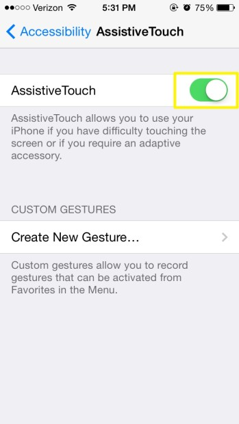 Enable Assistive Touch