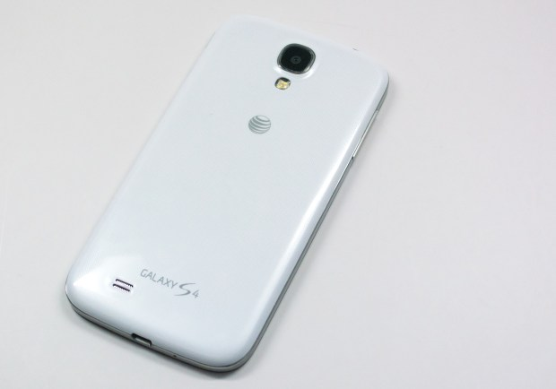The Galaxy S4 uses a glossy polycarbonate plastic.