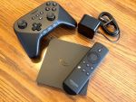 amazon firetv remote, gamepad and power cord