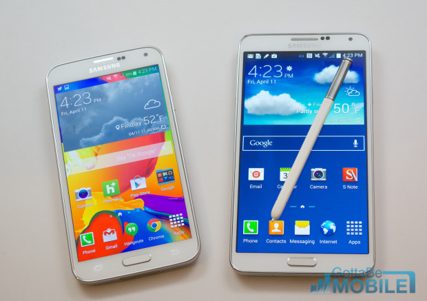 The Samsung Galaxy S5 display is brighter than the bigger Galaxy Note 3 display.