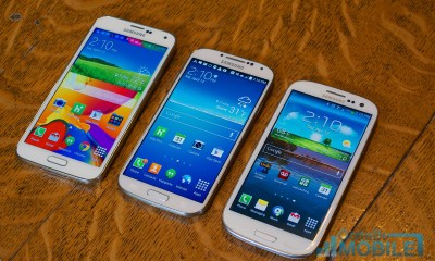 A 5.1-inch display on the Galaxy S5, a 45-inch display on the Galaxy S4 and a 4.8-inch display on the Galaxy S3.