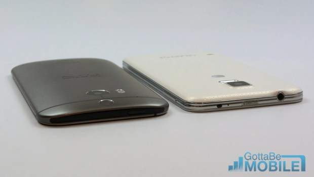 The Galaxy S5 and HTC One M8 are both on major carriers at similar prices.