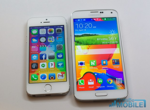 The Samsung Galaxy S5 display is larger and more vivid than the iPhone 5s.