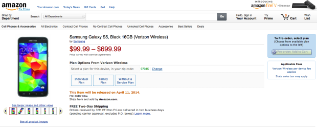 Earlier today, the Verizon Galaxy S5 was on sale for $99.