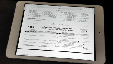 File for a free 6 month tax extension using IRS form 4868 on the iPad, iPhone or Computer.