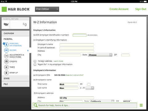The H&R Tax App for iPad lets users file online.