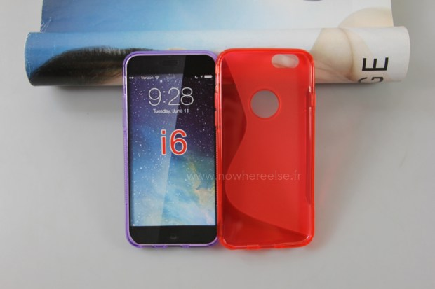 This photo shows an iPhone 6 case designed on rumors of what the new iPhone will look like.