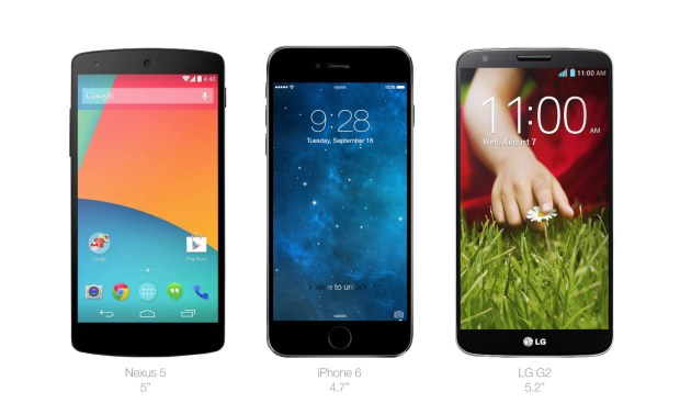 The iPhone 6 mock up is about the size of the Nexus 5 and LG G2.