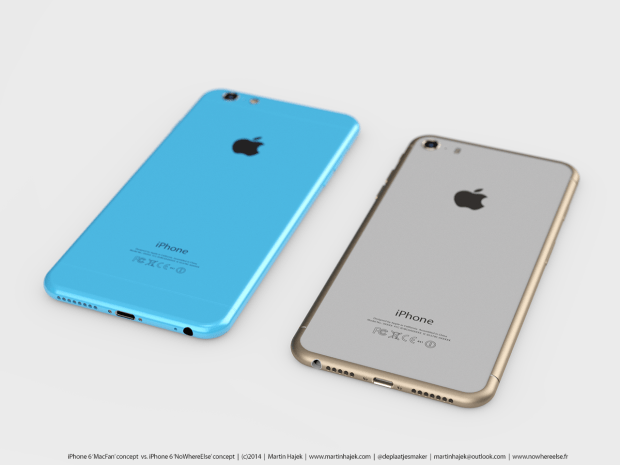 The iPhone 6 concept is on the right. iPhone 6c concept on the left.