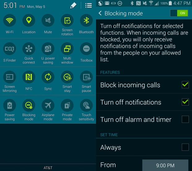 Here is how to set up Blocking Mode on the Samsung Galaxy S5.