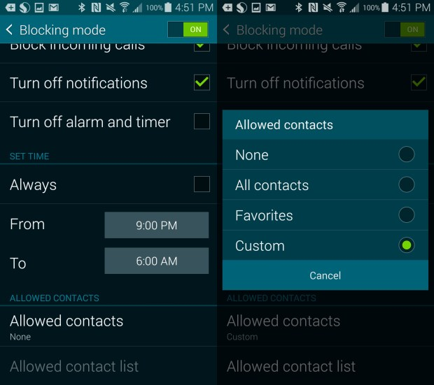 Double check your Blocking Mode settings on the Galaxy S5.
