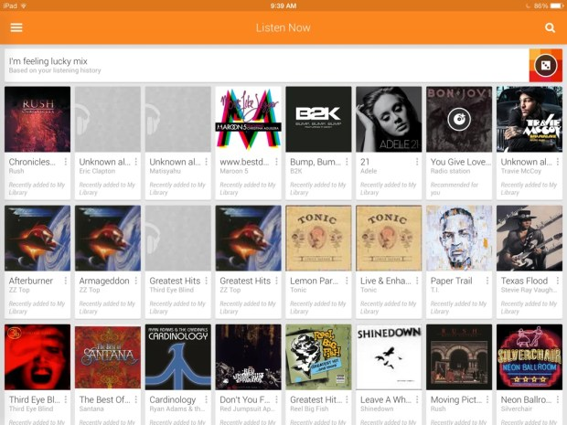 Google Play Music iPad app